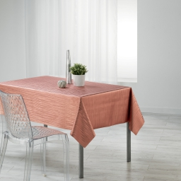 Nappe rectangle 140 x 240 cm pvc imprime metallise wavy Rose