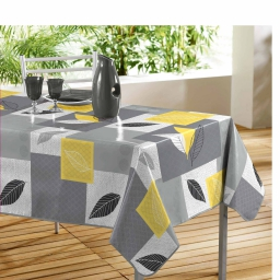 Nappe rectangle 140 x 240 cm pvc imprime soria Jaune