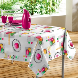 Nappe rectangle 140 x 240 cm pvc photoprint gourmand Blanc