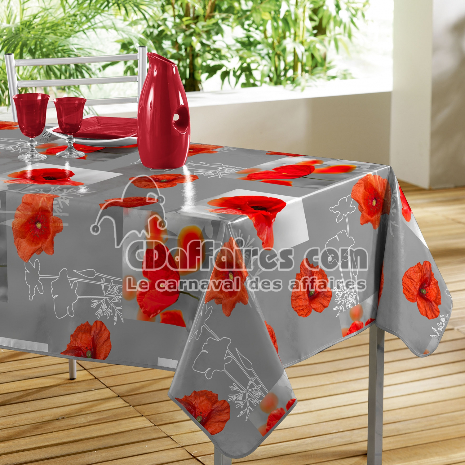 nappe rectangle 140 x 240 cm pvc photoprint matinale gris cdaffaires. Black Bedroom Furniture Sets. Home Design Ideas