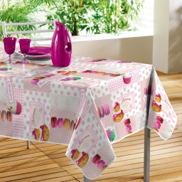 Nappe rectangle 140 x 240 cm pvc photoprint mignardises Rose