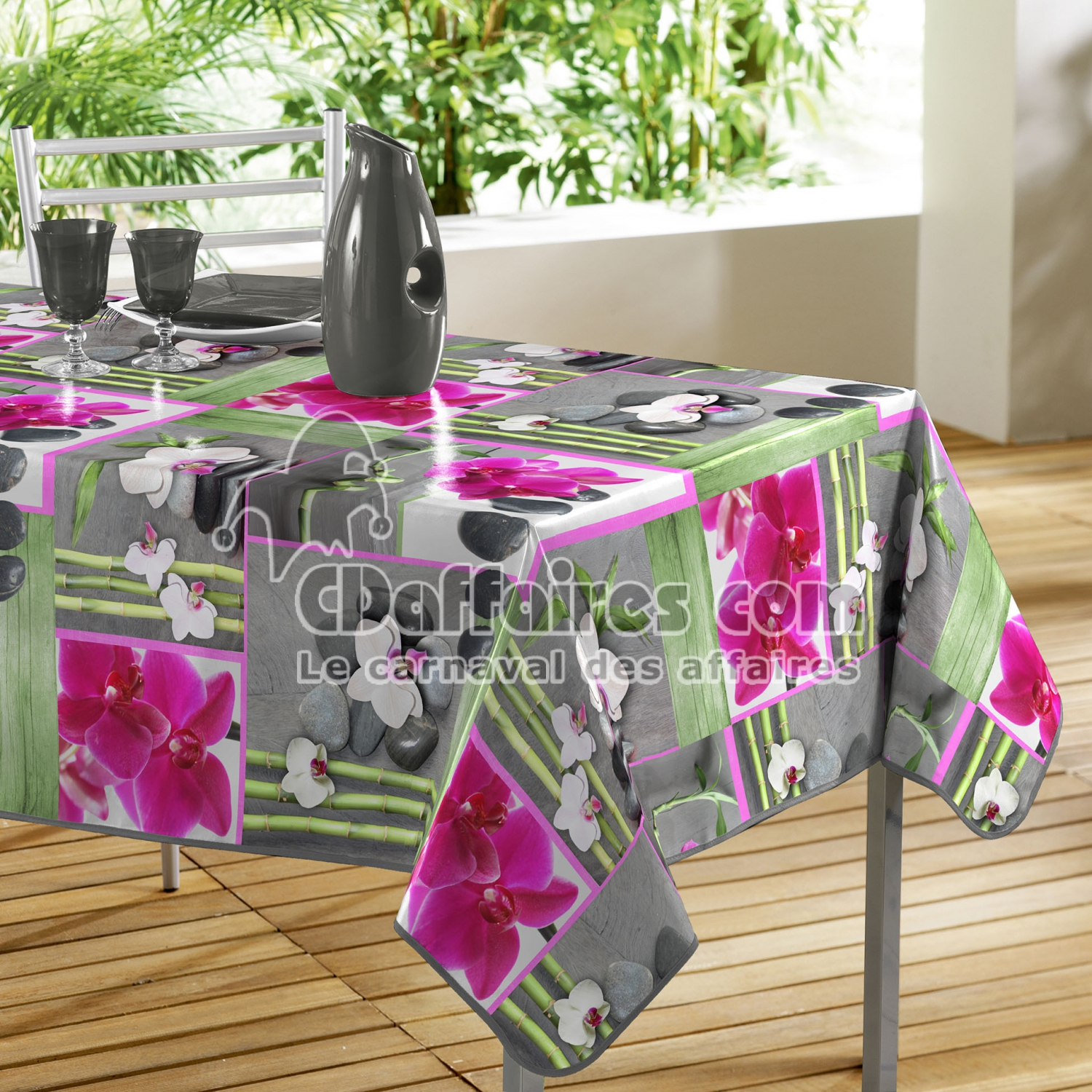 nappe rectangle 140 x 240 cm pvc photoprint orchidee. Black Bedroom Furniture Sets. Home Design Ideas