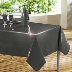 Nappe rectangle 140 x 240 cm pvc uni laque glossy Anthracite