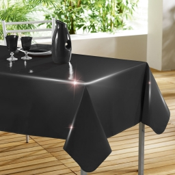 Nappe rectangle 140 x 240 cm pvc uni laque glossy Noir