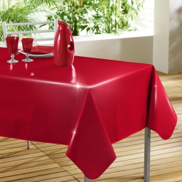 Nappe rectangle 140 x 240 cm pvc uni laque glossy Rouge