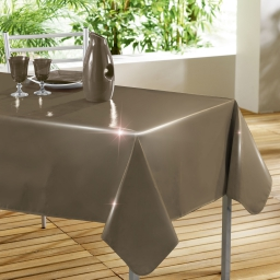 Nappe rectangle 140 x 240 cm pvc uni laque glossy Taupe
