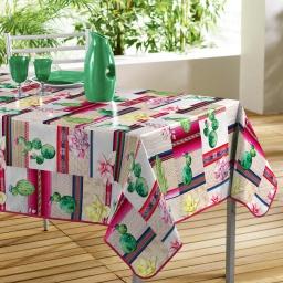 Nappe rectangle 140 x 240 cm toile cirée imprimée Cactusea