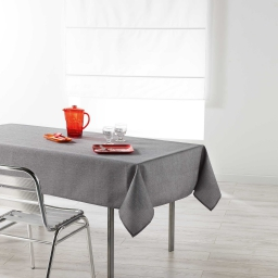 Nappe rectangle 140 x 250 cm chambray uni enduit newton Anthracite