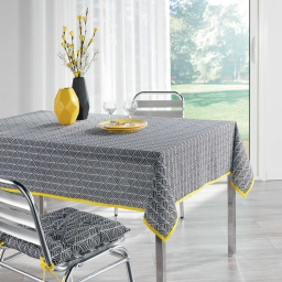 Nappe rectangle 140 x 250 cm coton imprime modern style Jaune