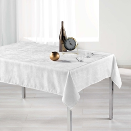 Nappe rectangle 140 x 250 cm jacquard alisson Blanc