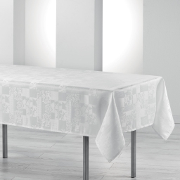Nappe rectangle 140 x 250 cm jacquard damasse calice Blanc