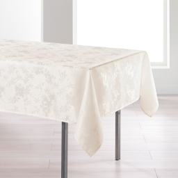 Nappe rectangle 140 x 250 cm jacquard damasse floralie Naturel