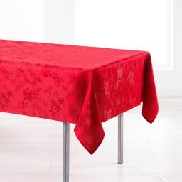 Nappe rectangle 140 x 250 cm jacquard damasse floralie Rouge