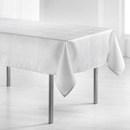 Nappe rectangle 140 x 250 cm jacquard damasse serpentile Blanc