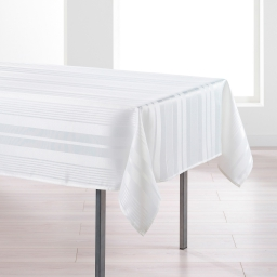 Nappe rectangle 140 x 250 cm jacquard damasse smart Blanc