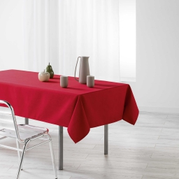 Nappe rectangle 140 x 250 cm jacquard enduit liany Rouge