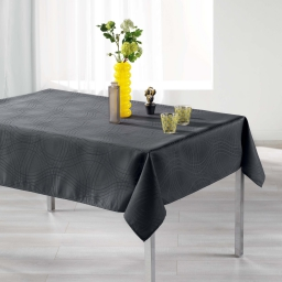 Nappe rectangle 140 x 250 cm jacquard ondelina Anthracite