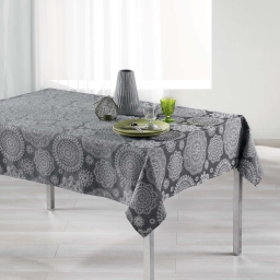 Nappe rectangle 140 x 250 cm jacquard rose des vents Anthracite