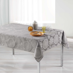 Nappe rectangle 140 x 250 cm jacquard rose des vents Gris