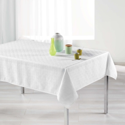 Nappe rectangle 140 x 250 cm jacquard tokio Blanc