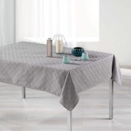 Nappe rectangle 140 x 250 cm jacquard tokio Gris