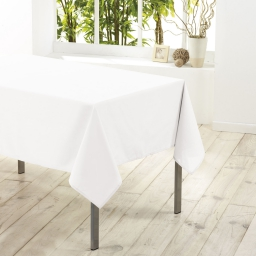 Nappe rectangle 140 x 250 cm polyester uni essentiel Blanc