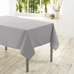 Nappe rectangle 140 x 250 cm polyester uni essentiel Gris