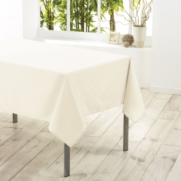 Nappe rectangle 140 x 250 cm polyester uni essentiel Naturel