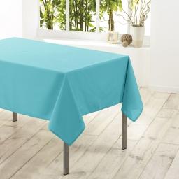 Nappe rectangle 140 x 250 cm polyester uni essentiel Turquoise