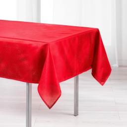 Nappe rectangle 140 x 250 cm shantung applique scintille Rouge