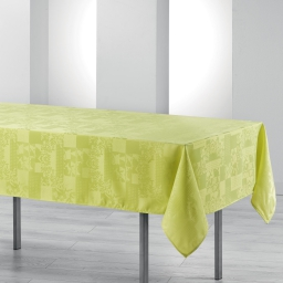 Nappe rectangle 140 x 300 cm jacquard damasse calice Anis