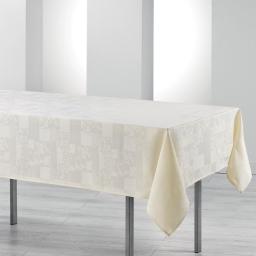 Nappe rectangle 140 x 300 cm jacquard damasse calice Naturel