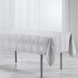 Nappe rectangle 140 x 300 cm jacquard damasse comete Argent