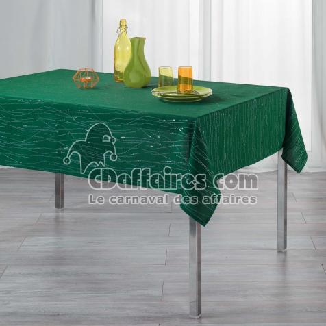 Nappe rectangle 140 x 300 cm polyester applique filiane Emeraude