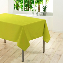 Nappe rectangle 140 x 300 cm polyester uni essentiel Anis