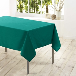 Nappe rectangle 140 x 300 cm polyester uni essentiel Emeraude