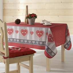 Nappe rectangle 150 x 200 cm fils coupes imprime edelweiss Rouge