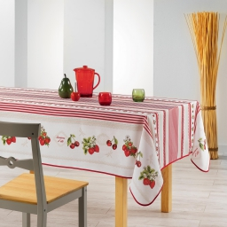 nappe rectangle 150 x 200 cm fils coupes imprime fruits rouges