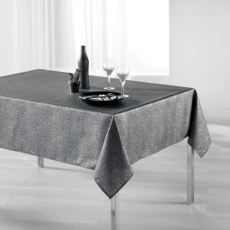 Nappe rectangle 150 x 200 cm polyester imprime argent palacio Anthracite