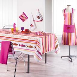 Nappe rectangle 150 x 200 cm polyester imprime sardinades Rose