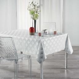 Nappe rectangle 150 x 240 cm anti tache Goldy  Blanc/argent