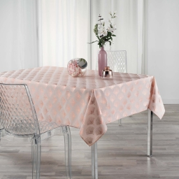 Nappe rectangle 150 x 240 cm anti tache Goldy  Rose/or Rose