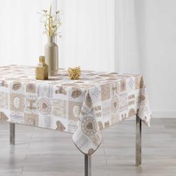 Nappe rectangle 150 x 240 cm fils coupes imprime samos Blanc