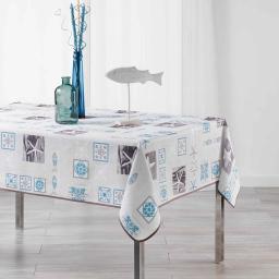 Nappe rectangle 150 x 240 cm fils coupes imprime st malo Blanc