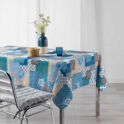 Nappe rectangle 150 x 240 cm fils coupes imprime trikala Bleu
