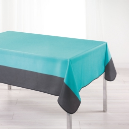 Nappe rectangle 150 x 240 cm polyester bicolore garden Aqua/Anthracite