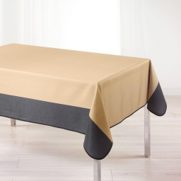 Nappe rectangle 150 x 240 cm polyester bicolore garden Taupe/Anthracite