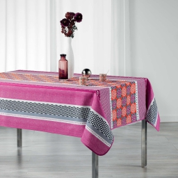 Nappe rectangle 150 x 240 cm polyester imprime amarella Corail