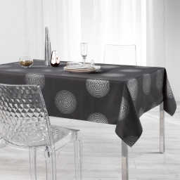 Nappe rectangle 150 x 240 cm polyester imprime argent atome Anthracite