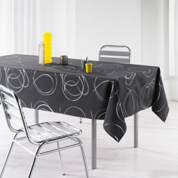 Nappe rectangle 150 x 240 cm polyester imprime argent bully Anthracite